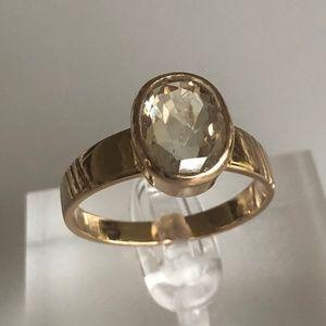 Mens 18k Rare Yellow 2.75 CT Sapphire Ring 6.5g